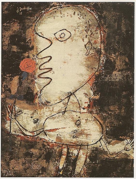 Jean Dubuffet, L'Homme à la Rose, 1949, verf en collage op doek, 116x89cm, Kunstmuseum, Hannover.