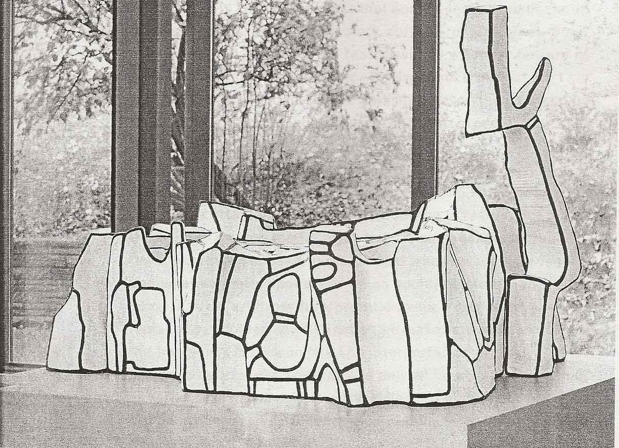 Jean Dubuffet, Castelet l'Hourloupe, 1968, epoxy en polyurethaanverf, 100x125x100 cm, Fondation Dubuffet, Parijs.