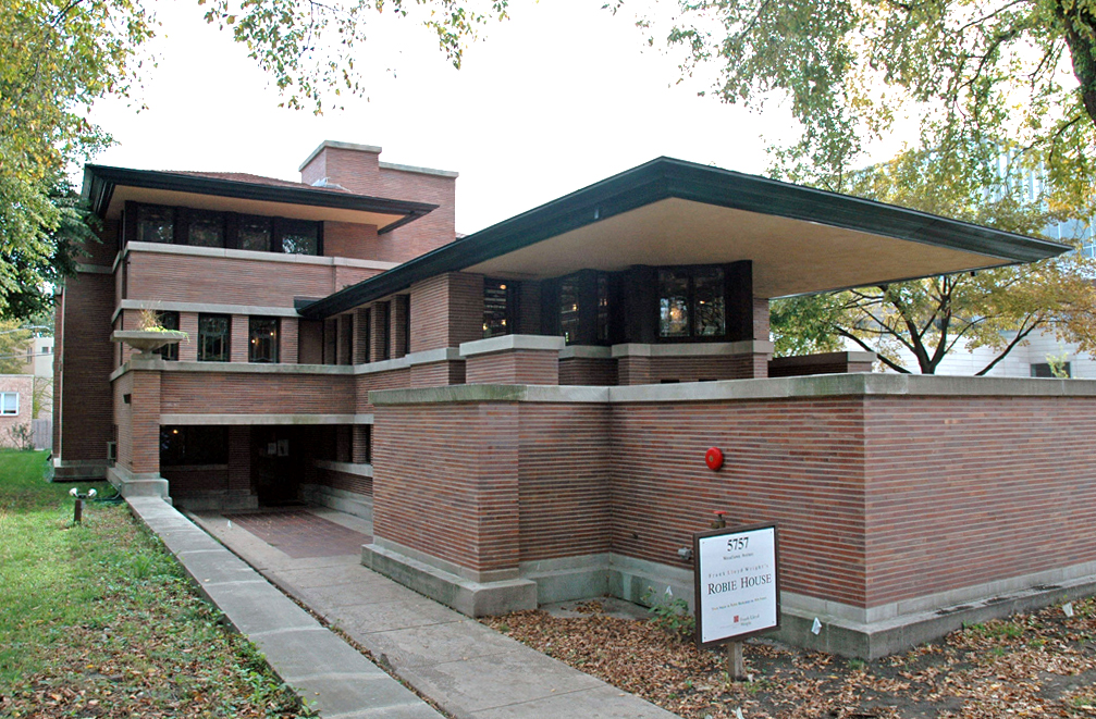 Het Robie House in Chicago van Frank Lloyd Wright uit 1908. Foto: wikimedia commons.