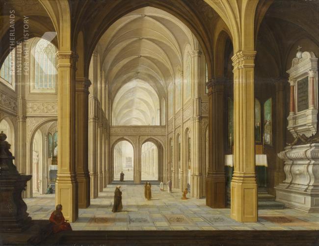 Omgeving Dirck van Delen of Bartholomeus van Bassen, Kerkinterieur met figuren, 1628, olieverf op paneel, 64,5x84cm, Van Ham Kunstauktionen Keulen, 2014-05-16, lotnr. 408 (afbeelding RKD).