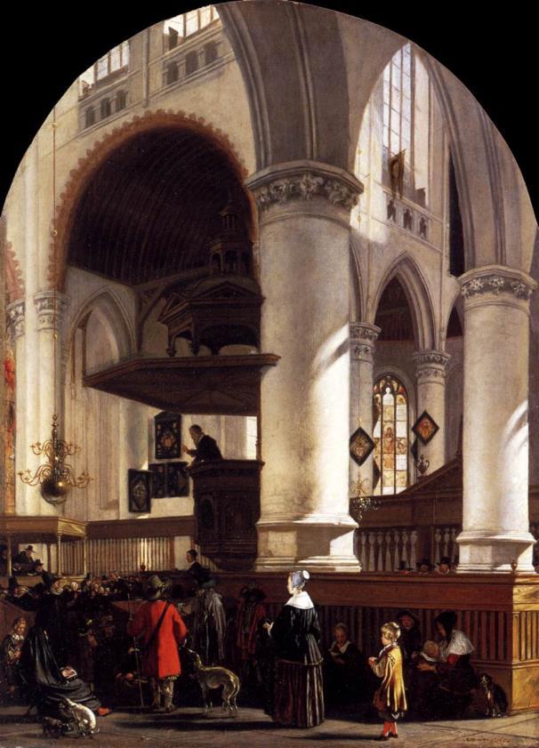 Emanuel de Witte, Interieur van de Oude Kerk tijdens een preek, 1651, olieverf op paneel, 61x44cm, Wallace Collection Londen (afbeelding Web Gallery of Art).