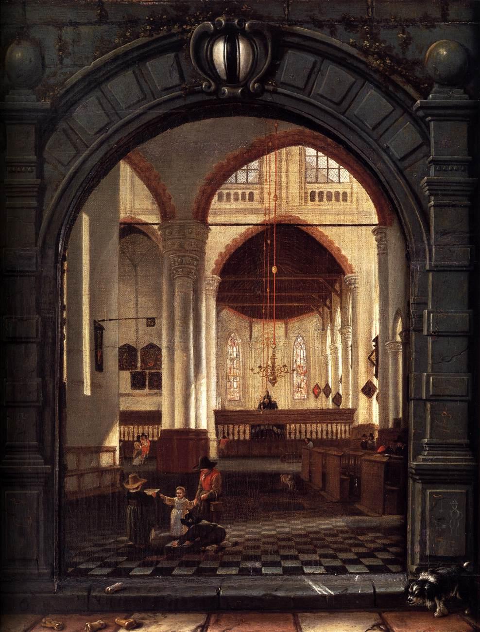Louys Aernoutsz. Elsevier, Interieur van de Oude Kerk te Delft, 1653, doek op paneel geplakt met de omlijsting op paneel, 54,5x44,5cm, Nationaal Museum van Oude Kunst Lissabon (afbeelding Web Gallery of Art).