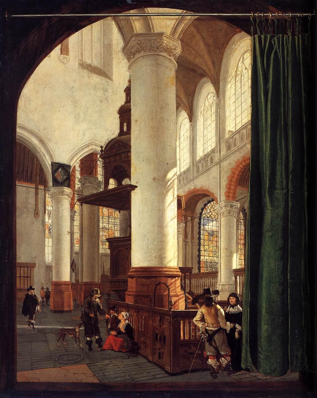 Gerard Houckgeest, Interieur van de Oude Kerk te Delft met de kansel uit 1548, 1651, olieverf op paneel, 49x41cm, Rijksmuseum Amsterdam (afbeelding Web Gallery of Art).