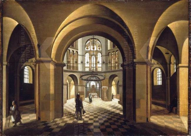 Hendrick van Steenwijck de Oude, Interieur van de Paltskapel in de Dom te Aken, 1573, olie op paneel, 52,2x73cm, Bayerische Staatsgemäldesammlungen München (afbeelding RKD).
