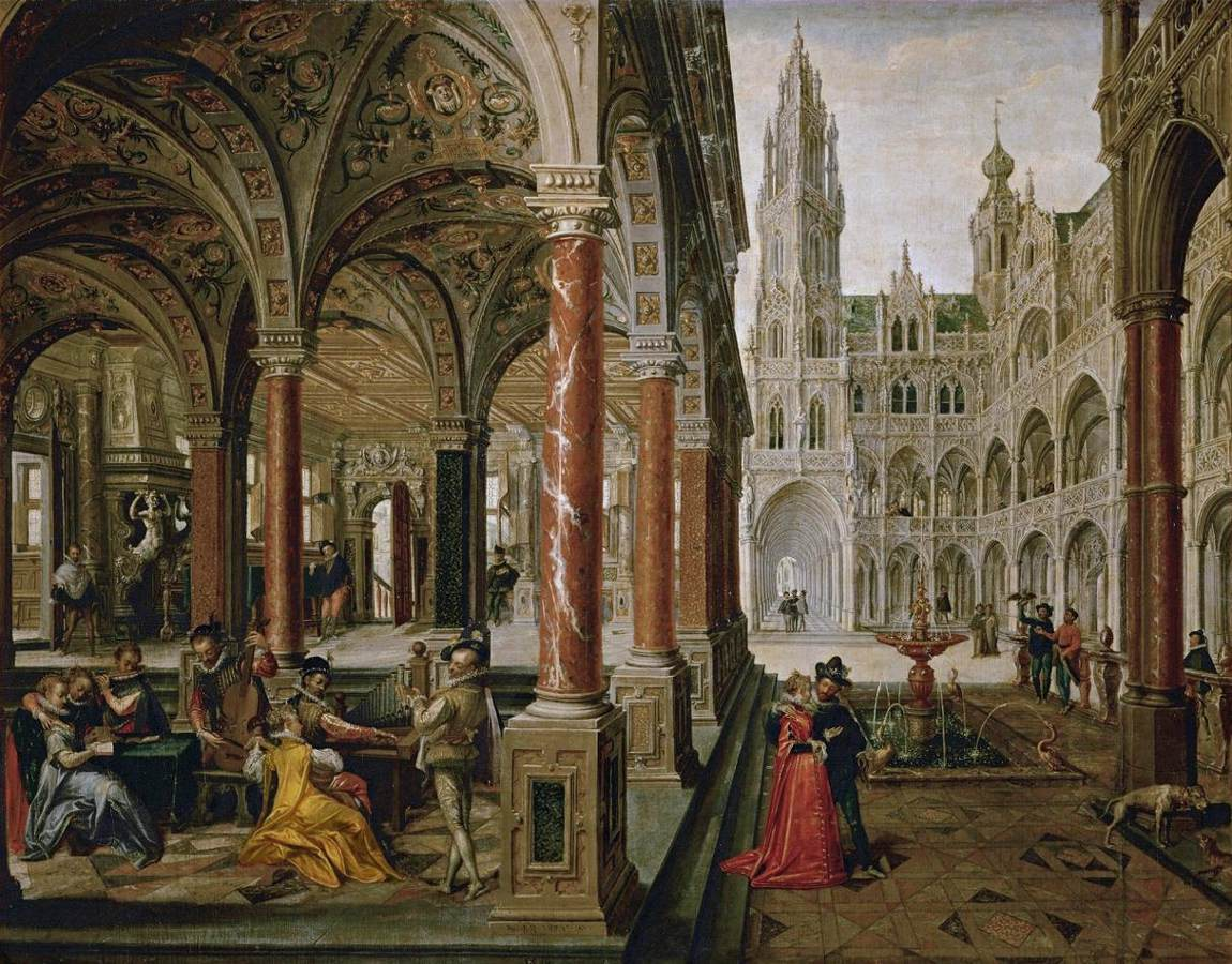 Hans Vredeman de Vries, Paleisarchitectuur met figuren, 1596, olieverf op doek, 135x174cm, Kunsthistorisches Museum Wenen (afbeelding Web Gallery of Art)